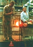 Glassblowers at work.